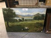 Sale 8711 - Lot 2034 - A. B Short Pastoral Scene 1904 oil on canvas, 51 x 77cm, signed and dated lower left -