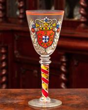 Sale 8804A - Lot 88 - A very large goblet enamelled with the coat of arms of Portugal and a candy cane twist stem, marked to base Height 34cm
