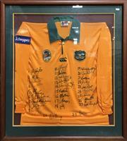 Sale 8863S - Lot 22 - 1995 Bob Dwyer Wallabies Signed Jersey, in frame