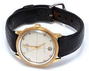 Sale 9046 - Lot 353 - HAMILTON PAN-EUROPA 18CT GOLD GENTS AUTOMATIC WRISTWATCH; ref; 64017-8 with sunburst dial, applied markers, center seconds, date at...