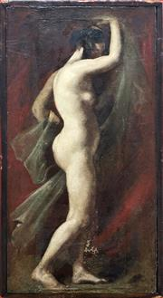Sale 8655 - Lot 2017 - Artist Unknown - The Female Muse oil on board (AF), 25.5 x 51cm, unsigned