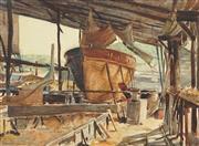 Sale 8764 - Lot 589 - John Barclay Godson (1882 - 1957) - Blackwattle Bay, Boathouse Sydney 24 x 34cm