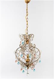 Sale 8770 - Lot 95 - A clear, peach and pale blue coloured glass and giltwood chandelier, French circa 1950, total drop 106cm