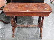 Sale 8792 - Lot 1022 - Victorian Figured Walnut and Marquetry Card Table, raised on double turned supports with finials and stretcher - some faults (H: 73...