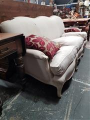 Sale 8868 - Lot 1012 - French Style White Washed & Linen Upholstered Sofa, with triple back & loose feather cushions