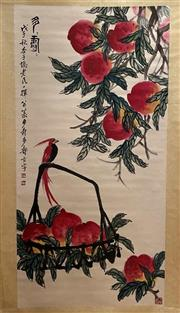 Sale 8994 - Lot 63 - Chinese Scroll of Peaches, Ink and Colour on Paper