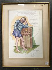 Sale 9028 - Lot 2070 - D P Tozer Story of Lofty and his Pants 1938 watercolour 52 x 40cm (frame) signed and dated lower right