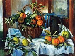Sale 9142A - Lot 5016 - MARGARET OLLEY (1923 - 2011) - Basket of Oranges, Lemons and Jug, 2011 92 x 120 cm