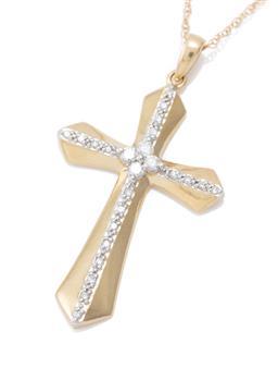 Sale 9169 - Lot 349 - A 14CT GOLD DIAMOND CRUCIFORM PENDANT NECKLACE; set with 20 single cut diamonds and centring 4 round brilliant cut diamonds, size 36...