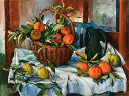 Sale 9214A - Lot 5026 - MARGARET OLLEY (1923 - 2011) - Basket of Oranges, Lemons and Jug 2011 92 x 120 cm