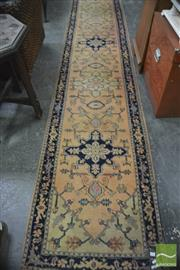 Sale 8337 - Lot 1096 - Cream Tone Hall Runner with Blue Border (490 x 80cm)