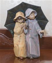 Sale 8375A - Lot 57 - A Lladro figural group of two children holding a large umbrella. Height 25 cm