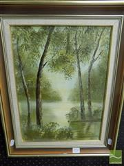 Sale 8513 - Lot 2050 - Jan Neilson - Creek with Trees 39 x 29cm