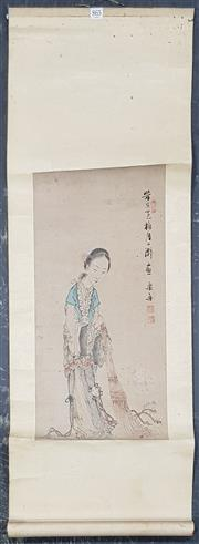Sale 8822B - Lot 865 - Oriental Scroll of Dancing Girl, inscribed verso & dated 1939