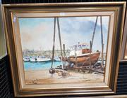 Sale 9024 - Lot 2093 - Fay Joseph On the Slips, Ulladulla 1973 oil on canvas board, 60 x 70cm (frame) signed and dated -