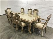 Sale 9071 - Lot 1025 - Italian Style Nine Piece Dining Setting incl. Eight Carved Chairs & Table with Glass Top (H:78 W:165 D:105cm)