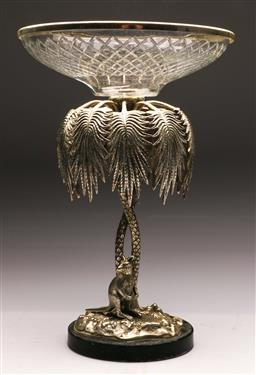 Sale 9122 - Lot 82 - A Silver Plated And Glass Top Comport With Kangaroo Base H: 49cm (Unmarked)