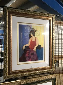 Sale 9147 - Lot 2041 - Itzchak Tarkay  A Night Out serigraph, ed. 113/150, frame: 80 x 67 cm signed lower right -