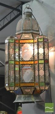 Sale 8352 - Lot 1057 - Large Morroccan Coloured Glass Hanging Lantern in working order (Some Losses)