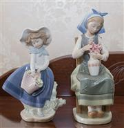 Sale 8375A - Lot 58 - A Lladro figure of a girl with a basket of flowers together with a seated flower arranger, Ht 21cm