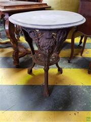 Sale 8617 - Lot 1094 - Probably Victorian Cast Iron Pub Table, marked for Caskell & Chambers Ltd. of Birmingham, the legs with mask heads & lower tier
