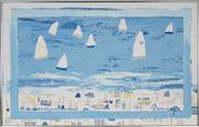 Sale 8720 - Lot 2006 - Derek Glaskin (1957 - ) - Sailboats at Greenmount 74.5 x 118cm