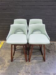 Sale 9039 - Lot 1041 - Set of 4 Vintage Barstools on Teak Sled Bases and Brass Foot Rest (h:88 x w:47cm)