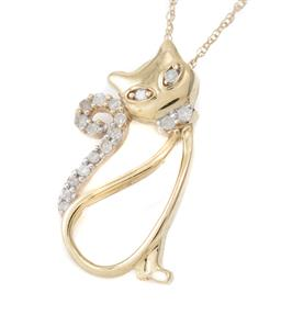 Sale 9115 - Lot 328 - A 10CT GOLD DIAMOND PENDANT NECKLACE; in the form of a seated cat, eyes, collar and tail set with 17 single cut diamonds totalling a...