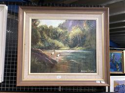 Sale 9147 - Lot 2011 - BRIAN AGNEW  Quiet Pool, Caernarvon Gorge, oil on board, frame: 52 x 60 cm -