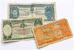 Sale 9173 - Lot 2 - A Commonwealth of Australia One Pound Note, Five Pound Note And 10 Shillings