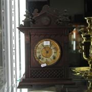 Sale 8351 - Lot 55 - Ansonia Timber Mantle Clock with a Gilt Face