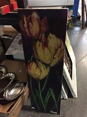 Sale 8655 - Lot 2027 - Artist Unknown - Tulips oil on canvas, 23 x 71cm, signed lower right