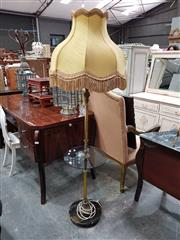 Sale 8688 - Lot 1100 - Brass Standard Lamp with Tussled Shade & Glass Shelf