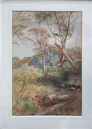 Sale 8728 - Lot 1081 - Gesso and Gilt Frame Featuring 19th Century Watercolour, by A. Sinclair, Australian Bush Scene 102 x 76cm (frame size),