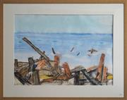 Sale 8734A - Lot 71 - Ross Manwaring - The Wreck of Fraser Island 71 x 98cm (frame size: 100 x 126)