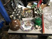 Sale 8819 - Lot 2515 - Collection of Sundries incl. Goblets, Cutlery, Ephemeras, Burl Vase, Bird Ornament, Ceramic Shoes, etc