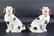 Sale 8832 - Lot 9 - Antique Staffordshire Pair of Dog Figures (af) (height: 23cm)