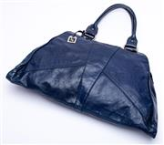 Sale 8921 - Lot 40 - A FENDI VINTAGE NAVY BLUE LEATHER SHOULDER BAG; with rolled handles and silver tone hardware and fob, internal signature material st...