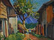 Sale 9047 - Lot 590 - Harry Marriot-Burton (1882 - 1979) - Farmyard, 1953 33.5 x 44.5 cm (frame: 45 x 56 x 3 cm)