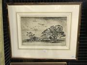 Sale 8990 - Lot 2019 - Alfred E Warner Sundown drypoint etching ed. 12/75, 23 x 35.5cm (frame: 46 x 56cm) signed