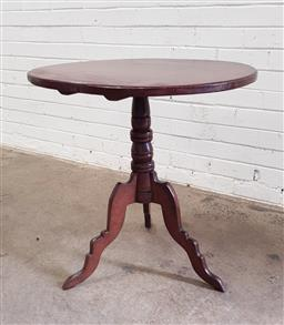 Sale 9097 - Lot 1064 - Edwardian Pine Occasional Table, with oval top & turned pedestal (h:70 x dZ:60cm)