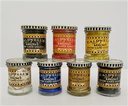 Sale 9142A - Lot 5019 - Set of (7) Vintage Caldwell Velour Paint Jars, 6.5 x 5 cm, eacj