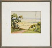Sale 8316 - Lot 582 - Rubery Bennett (1893 - 1987) - Valley Landscape 12 x 17cm