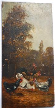 Sale 8312A - Lot 89 - C19th French School - Chickens unframed. 36 x 18 cm