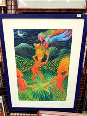 Sale 8622 - Lot 2045 - Artist Unknown - Fantasia, oil stick on paper (AF), 74.5 x 57cm, unsigned
