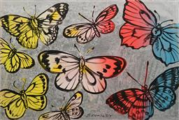 Sale 8642 - Lot 550 - David Bromley (1960 - ) - Butterflies 75 x 111.5cm