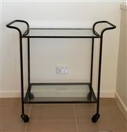 Sale 8858H - Lot 14 - Metal Bar Trolley with Glass Shelves, H 80 x L 85 x D 37 cm -