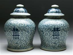 Sale 9144 - Lot 16 - Pair of Chinese blue and white lidded urns (H:33cm)
