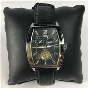 Sale 8292B - Lot 2 - A WOHLER AUTOMATIC WRISTWATCH, with two subsidiary dials and moon phase apperture with revealed escarpment on leather band, new in g...
