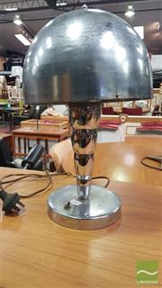Sale 8409 - Lot 1065 - Art Deco Chromed Desk Lamp with Graduated Column